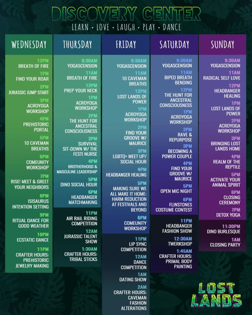 Lost Lands Music Festival 2021 Set Times - Discovery Center