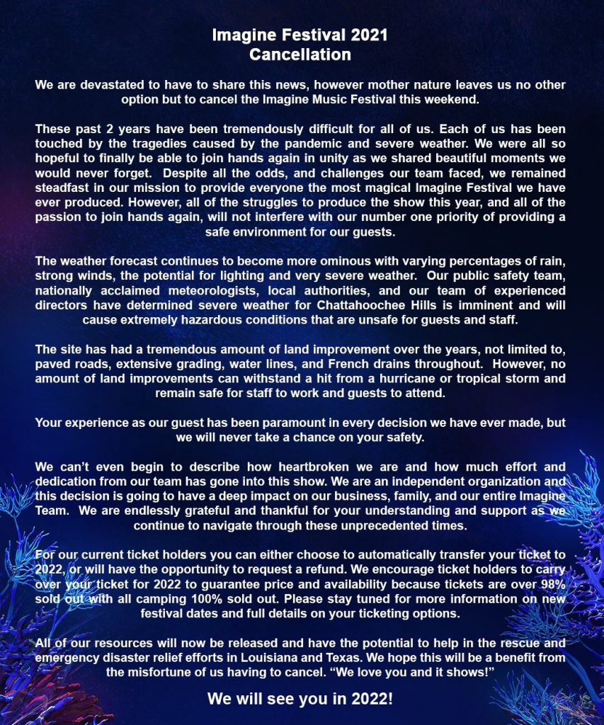 Imagine Music Festival 2021 Canceled