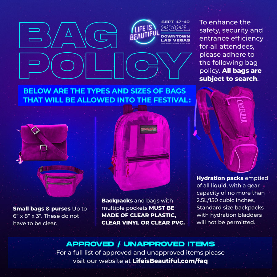 Life is Beautiful 2021 Bag Policy