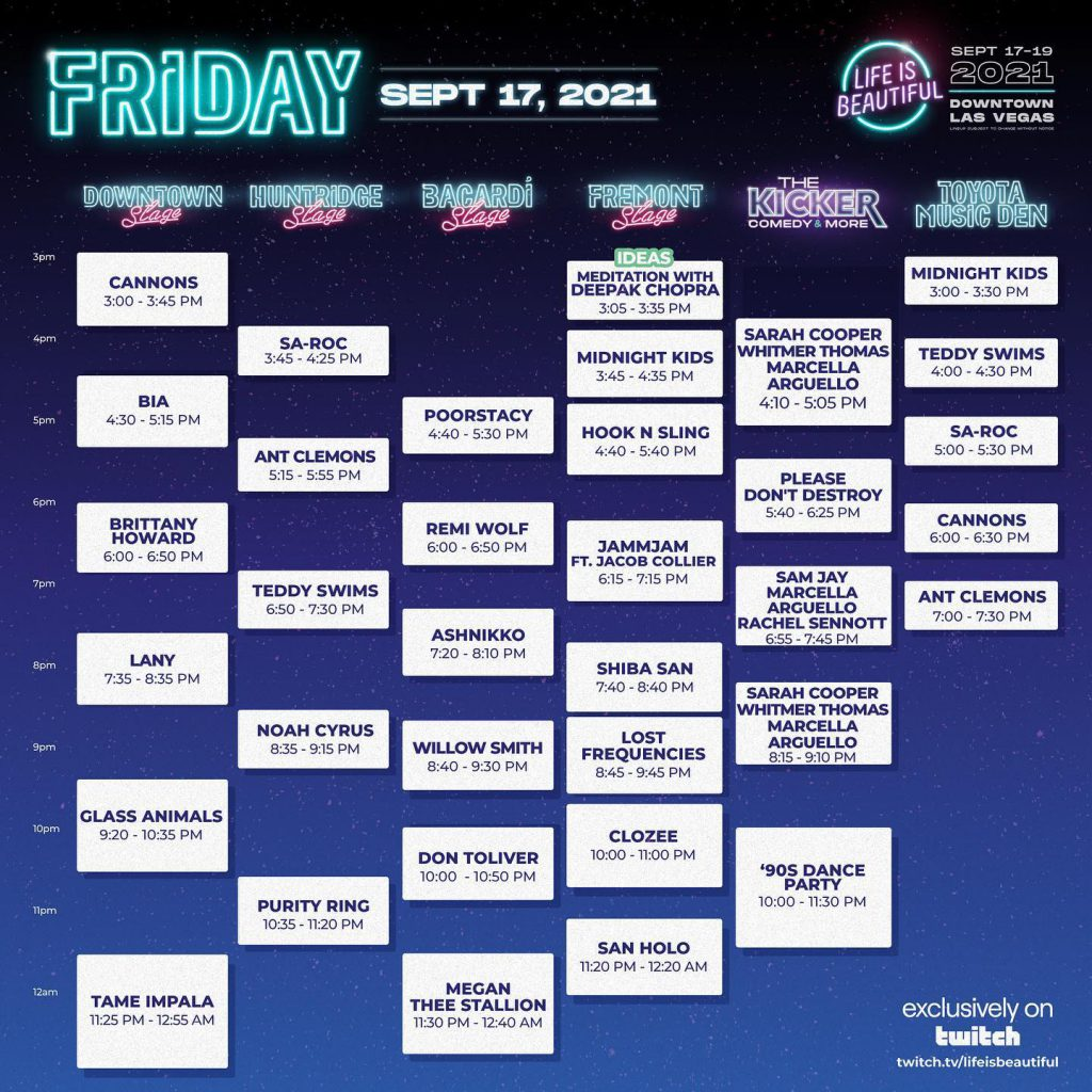 Life Is Beautiful 2021 Set Times - Friday